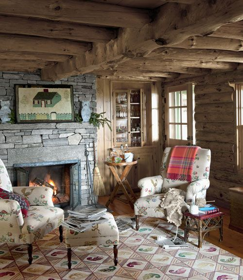 Warm Cabin Living Room Cozy Cottage Fireplace