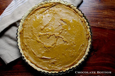 No-Bake Chocolate Bottom Pumpkin Tart Recipes. #Recipes