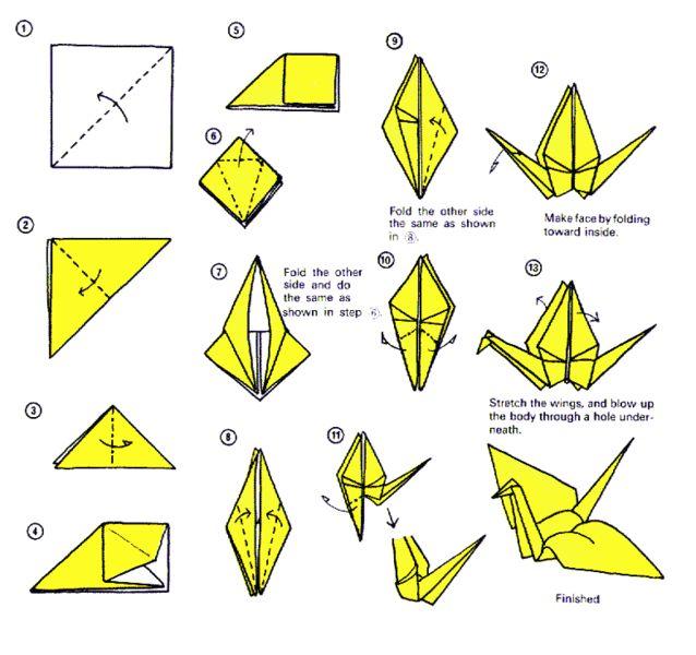 Paper crane origami pinterest for Crane tutorial