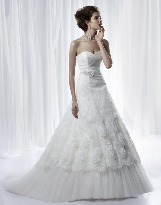 A-line Bridal Gown with Sweetheart Necekline Overlaid Lace Skirt