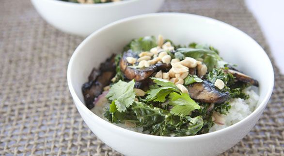 Portabello and Kale Rice Bowl with Spicy Peanut Sauce | Taste for ...
