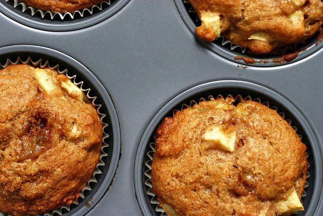 whole wheat apple muffins (subbed almond milk + lemon for buttermilk ...