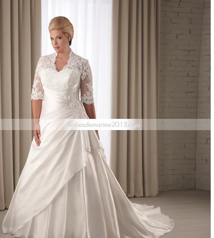 ... chapelle manches Half-Length Floor-Length Taille Plus robe de mariée