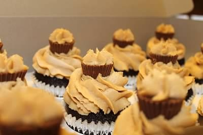 "Perfect Pair"" cupcakes. Chocolate cupcake with peanut butter icing."