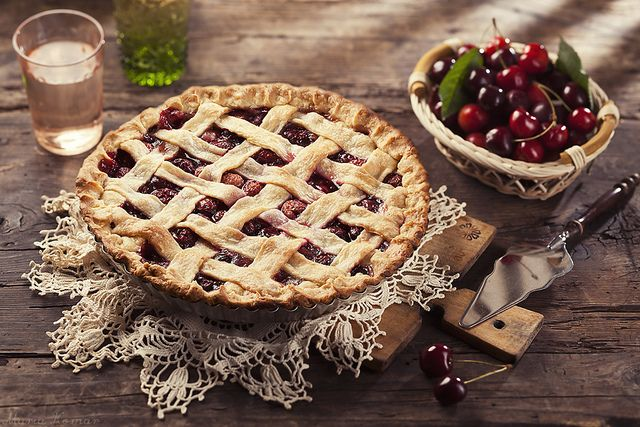 Cherry pie with lattice crust by Maria Komar, via Flickr