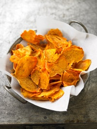 I am attempting to make sweet potato chips, although I have to hand slice them since I don't have anything else!