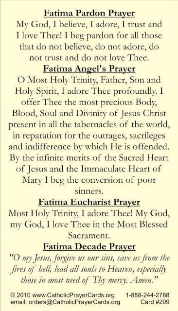 Fatima Prayers Blessed Virgin Mary Pinterest