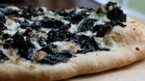 Swiss Chard Pizza. No tomato sauce, just dough, garlic, oil, cheese ...