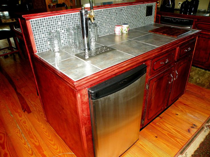 Built in kegerator in da house pinterest Home bar furniture with kegerator