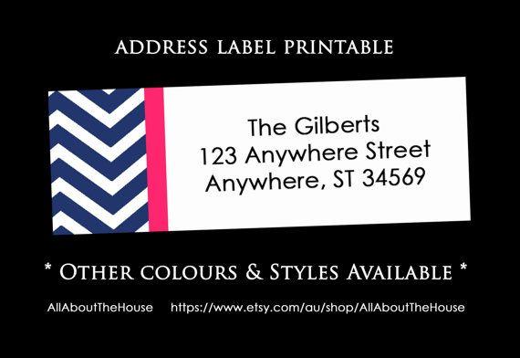 printable chevron address label return address sticker avery 5160 compatible personalised rectangle