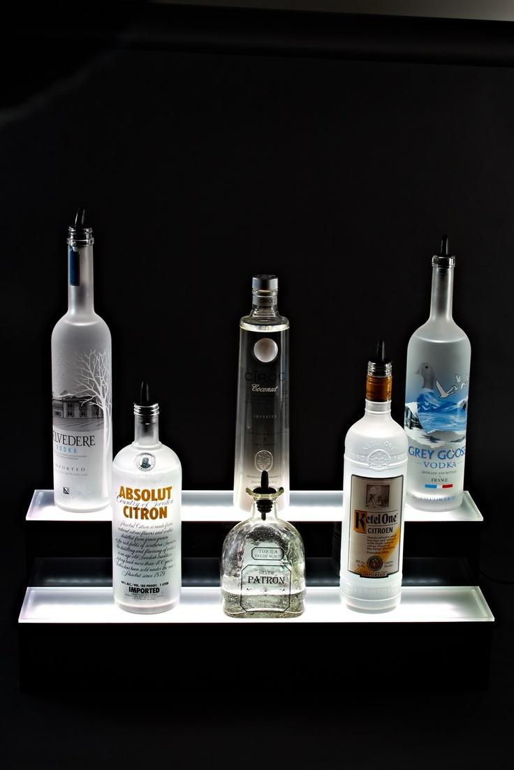 2 tier liquor shelf led bottle display. Black Bedroom Furniture Sets. Home Design Ideas
