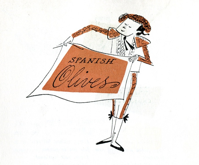 Hors d'Oeuvres: Favorite Recipes from Embassy Kitchens, 1959, by the Women's Club of the U.S. Embassy, Tokyo, illustrations by Virginia Jacobs McLaughlin.