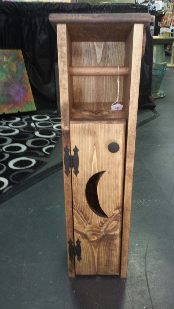 handmade wooden toilet paper holder outhouse with moon or primitive. Black Bedroom Furniture Sets. Home Design Ideas