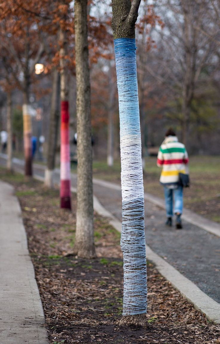 Wrapped Trees, Trinity Bellwoods park on Queen Street West, Toronto