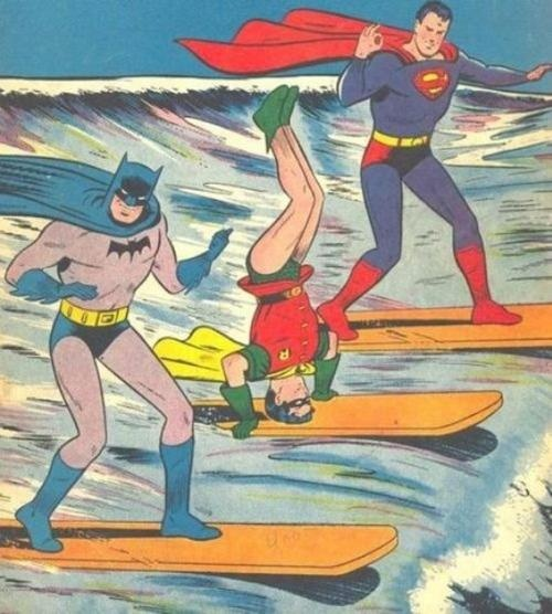 Superman, Batman and Robin surfing