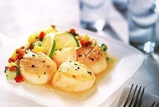 seared scallops with tropical salsa | Foods I Love | Pinterest