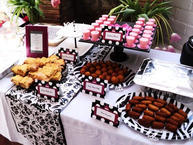 Hot pink black and white baby shower party ideas - Black and white food ideas ...