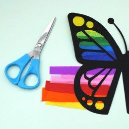 Summer crafts for the kids.  Mosaic butterfly using tissue paper.