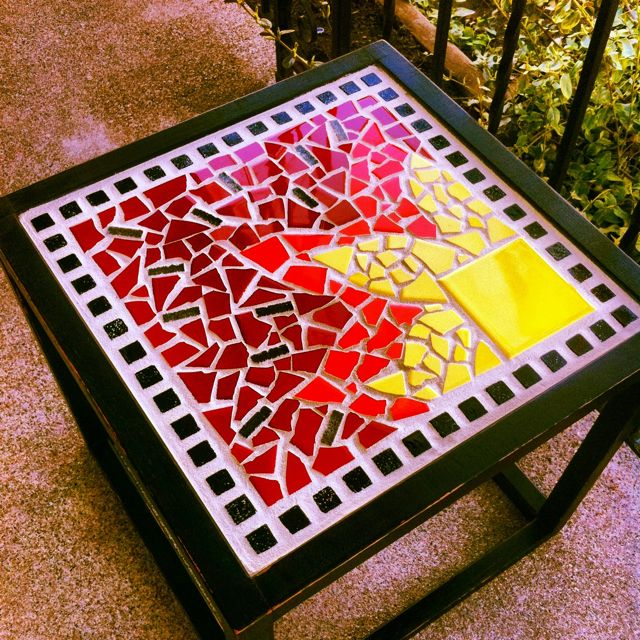 mosaic tile table i wouldn 39 t use the one full yellow tile but like