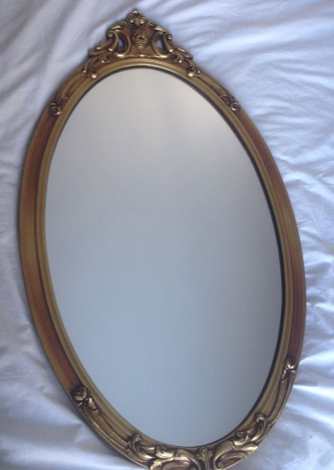 Vintage antique french wall decor oval gold gilt gesso wood mirror - Oval wall decor ...