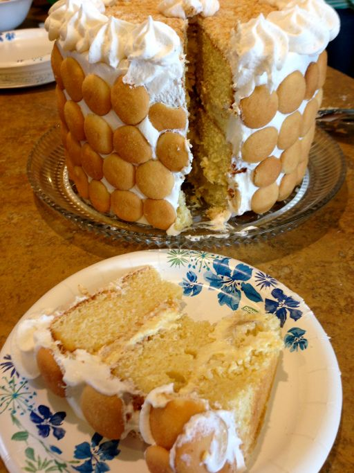 ... cake...I simply love banana pudding and Nilla wafers, but in a cake