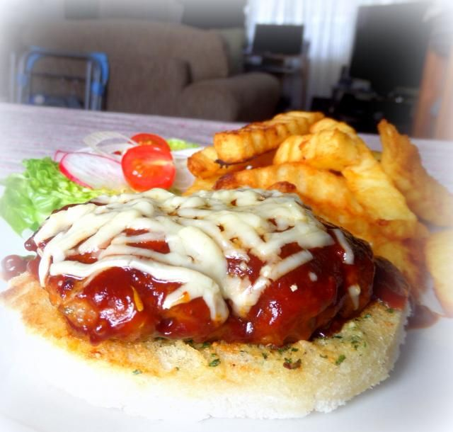"open faced burger ""The English Kitchen"" 