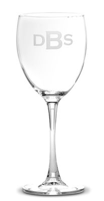 Monogrammed 12 oz White Wine Glass Set