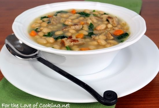 White Bean Soup with Kale and Turkey Sausage - For the Love of Cooking