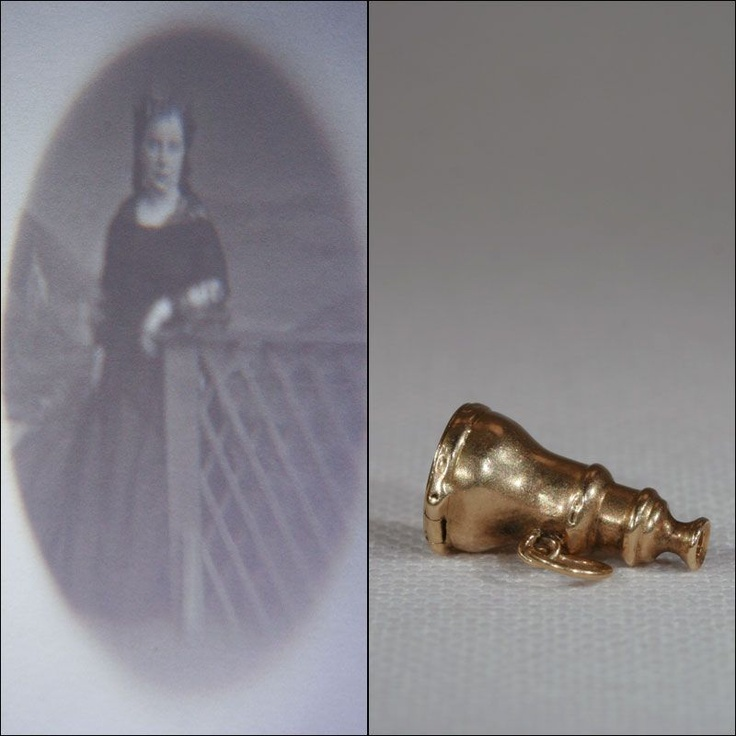 Stanhope pendant with a miniature photo of a Victorian lady inside.  Very small, very, very cool.  Made around 1850-1860.