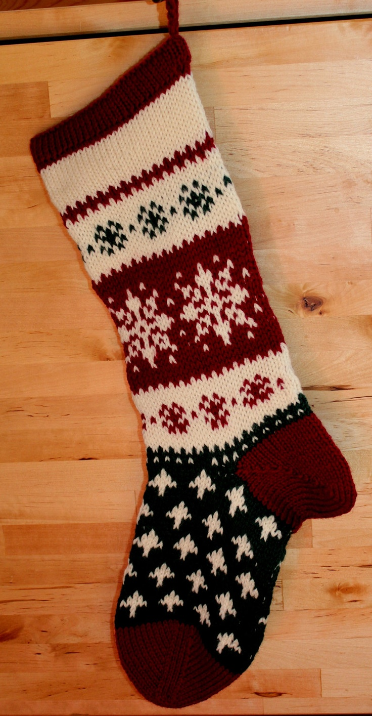 Knitting Patterns For Xmas Stockings : Hand Knit Christmas Stocking christmas stockings Pinterest