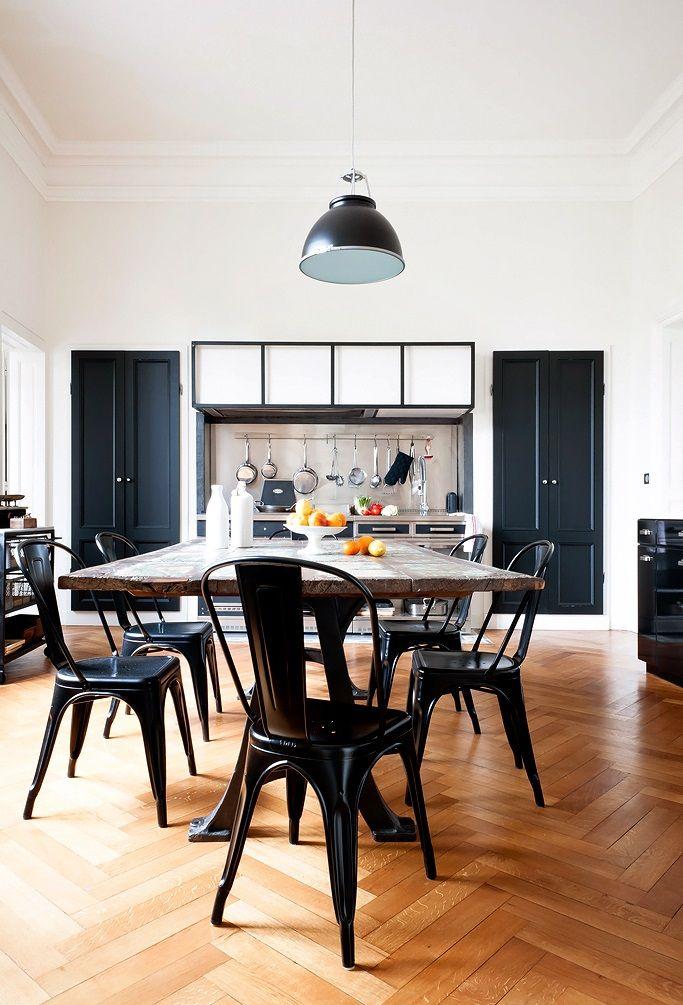 Evier Cuisine Blanc 2 Bacs : Chaises Tolix et cuisine contemporaine  CUISINE  Pinterest