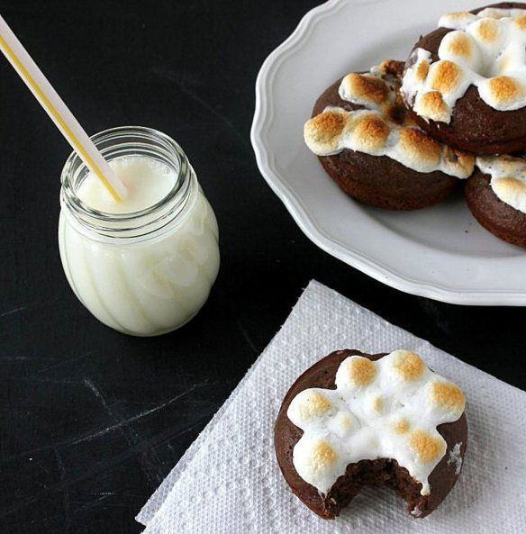 Peanut Butter S'mores Baked Doughnuts   Recipe