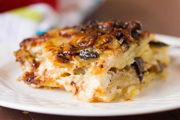Bacon and Mushroom Potato Gratin with Gruyère