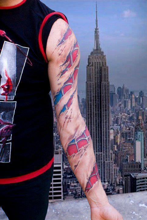 Amazing spiderman sleeve tattoo tattoos and piercings for Spiderman tattoo arm