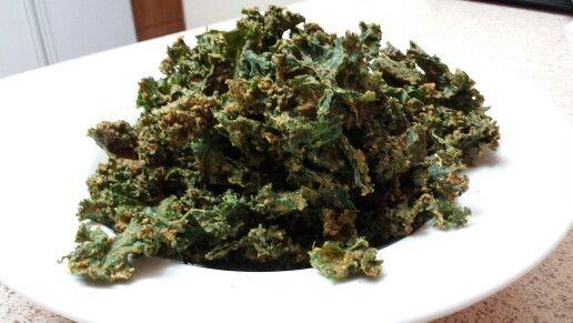 Kale chips. Dehydrated ....garlic carrot lemon ginger pumpkin seeds ...