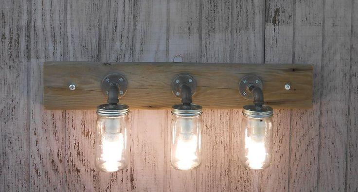 Mason jar 3 light fixture rustic reclaimed barn wood for Rustic barn light fixtures