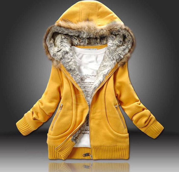 Wholesale Casual Artificial Wool Embellished Hooded Zipper and Pocket Design Cotton Coat For Women (YELLOW,ONE SIZE), Jackets & Coats - Rosewholesale.com