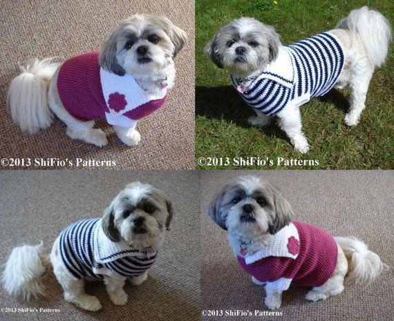 Crochet Xl Dog Sweater : Dog Crochet Pattern Dog Sweater Jumper S, M, L, XL Crochet Pattern DI ...