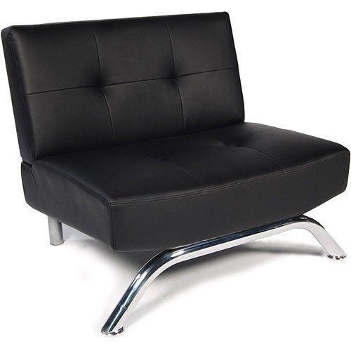 Chair Faux Leather Modern Manhattan Sofa Couch Armless