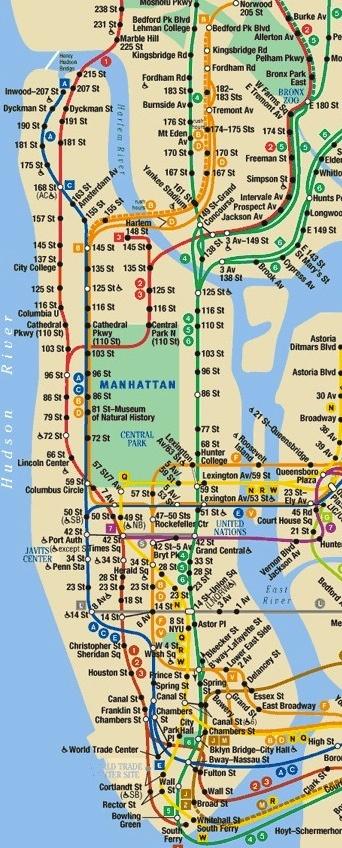 New York City Subway Map Manhattan Only Bnhspine Com