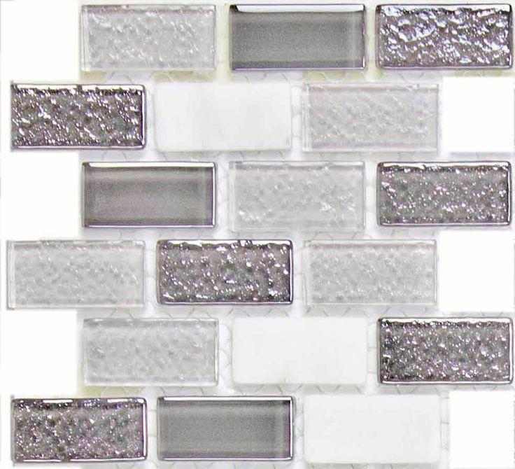 SAMPLE Pewter Glass Stone Kitchen Bath Wall Mosaic Backsplash Tile