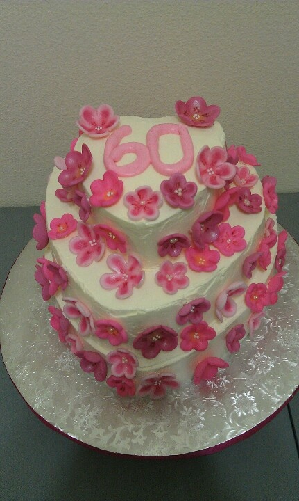 Moms 60th birthday cake. Swiss buttercream icing and fondant blossoms