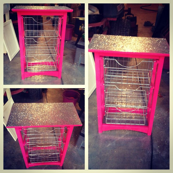 Old bathroom storage unit turned into a pink glittery storage unit
