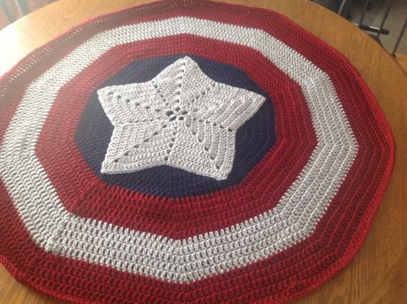 Free Crochet Pattern For Captain America Blanket : Super Hero Blanket - Fans of Captain America Star Shield ...