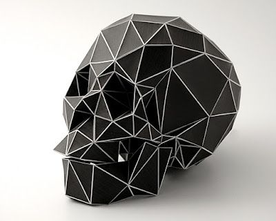 'Real life pixelation' of a skull by artist Christian Fiebig