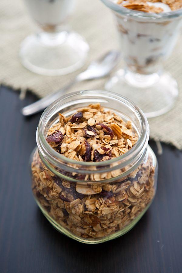 Cranberry Almond Granola Parfaits by EclecticRecipes.com #recipe