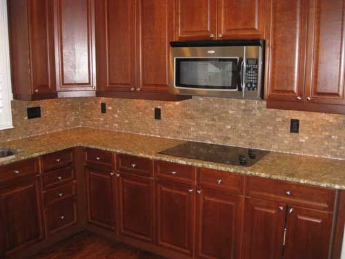 Tile Backsplash With Cherry Cabinets For The Home Pinterest
