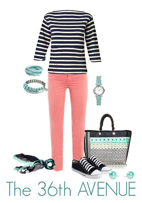 Fashion Post! Coral, Aqua and Navy Nautical.  Summer cute! the36thavenue.com  #fashion #nautical