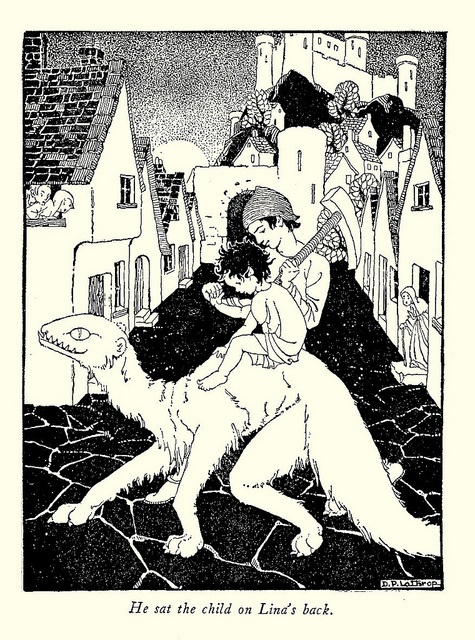 He sat the child on Lina's back - The Princess and Curdie by George MacDonald, 1942