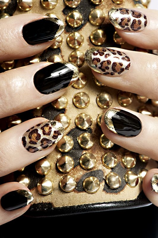 black nails and gold tips + leopard